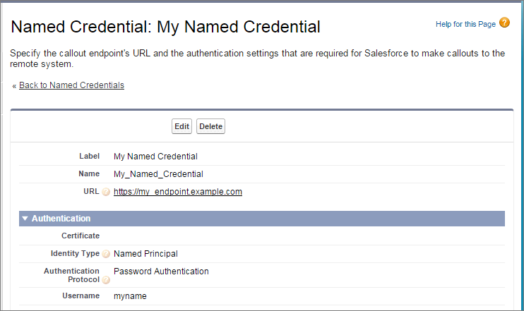 Named credential detail page