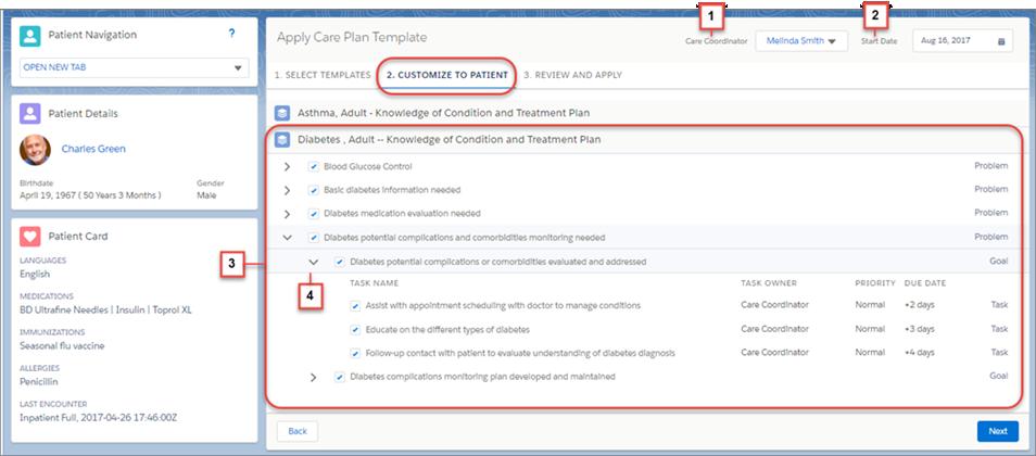 Customize the care plan template