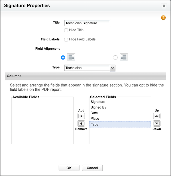 Signature Window Dragging A Element To Service Report Template