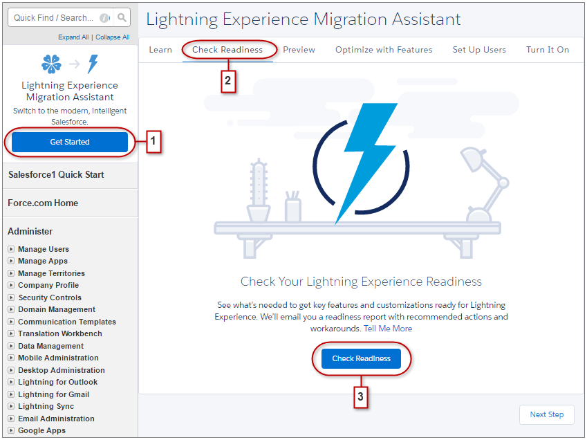 Kick Off The Lightning Experience Readiness Check