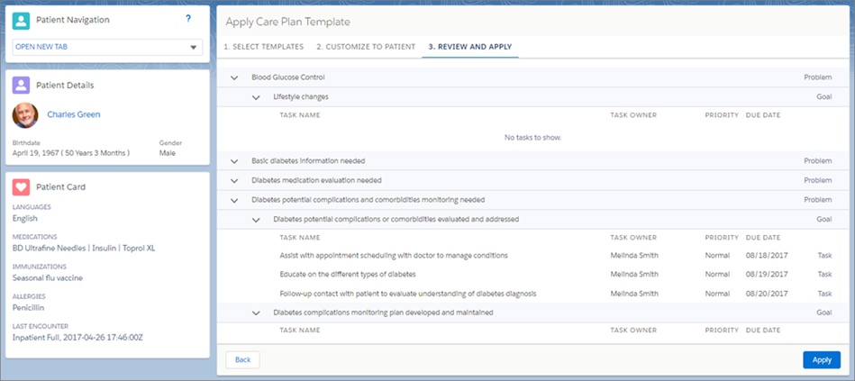 Apply Your Care Plan Template To Patient