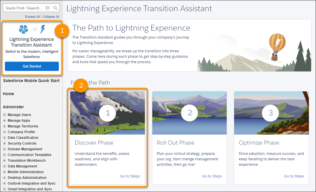 Screenshot of the Lightning Experience Transition Assistant in Setup