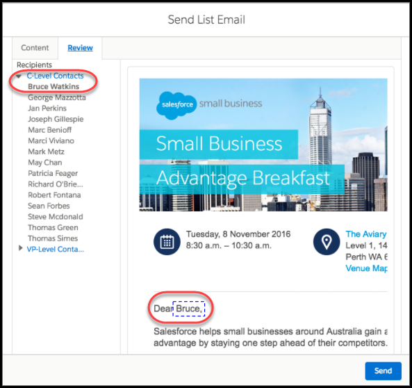 Send A List Email In Lightning Experience
