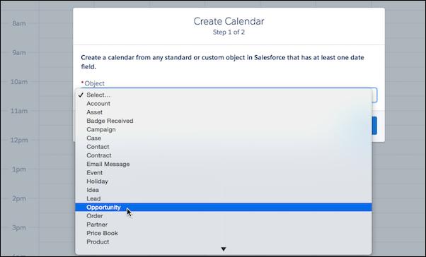 create a calendar in lightning experience